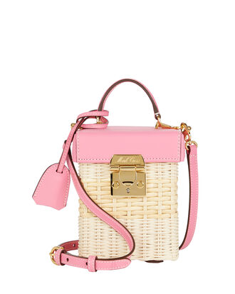 Grace Cube Rattan Box Bag, FLAMINGO PINK, hi-res