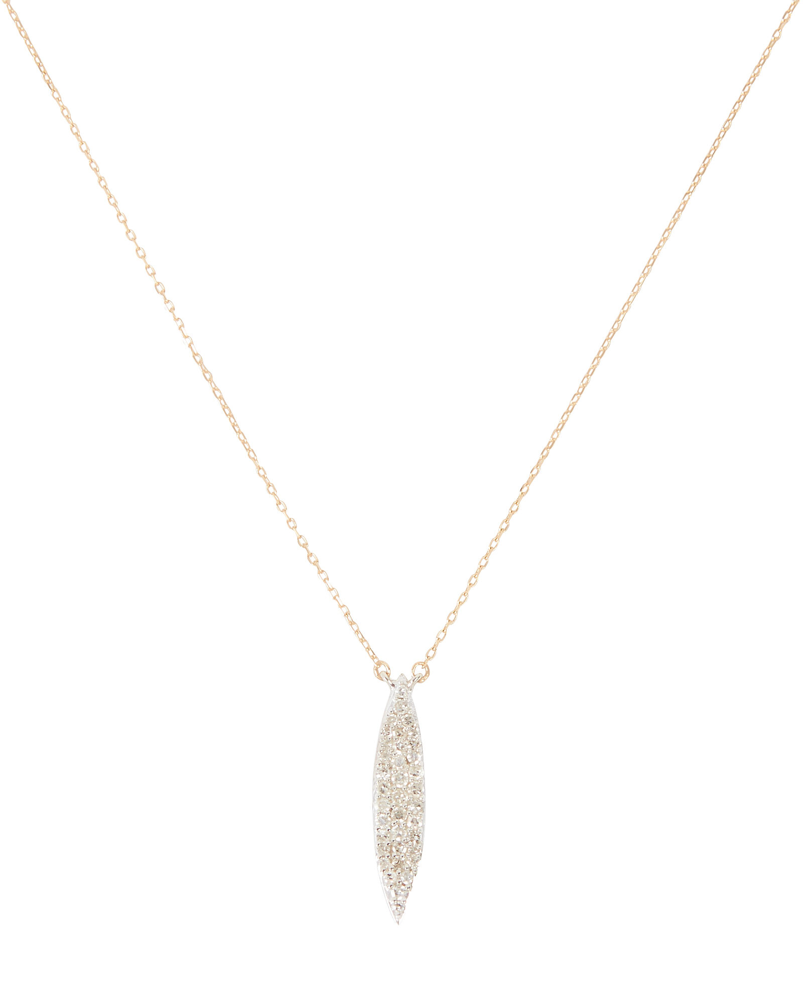 Small Pavé Marquise Necklace, GOLD, hi-res