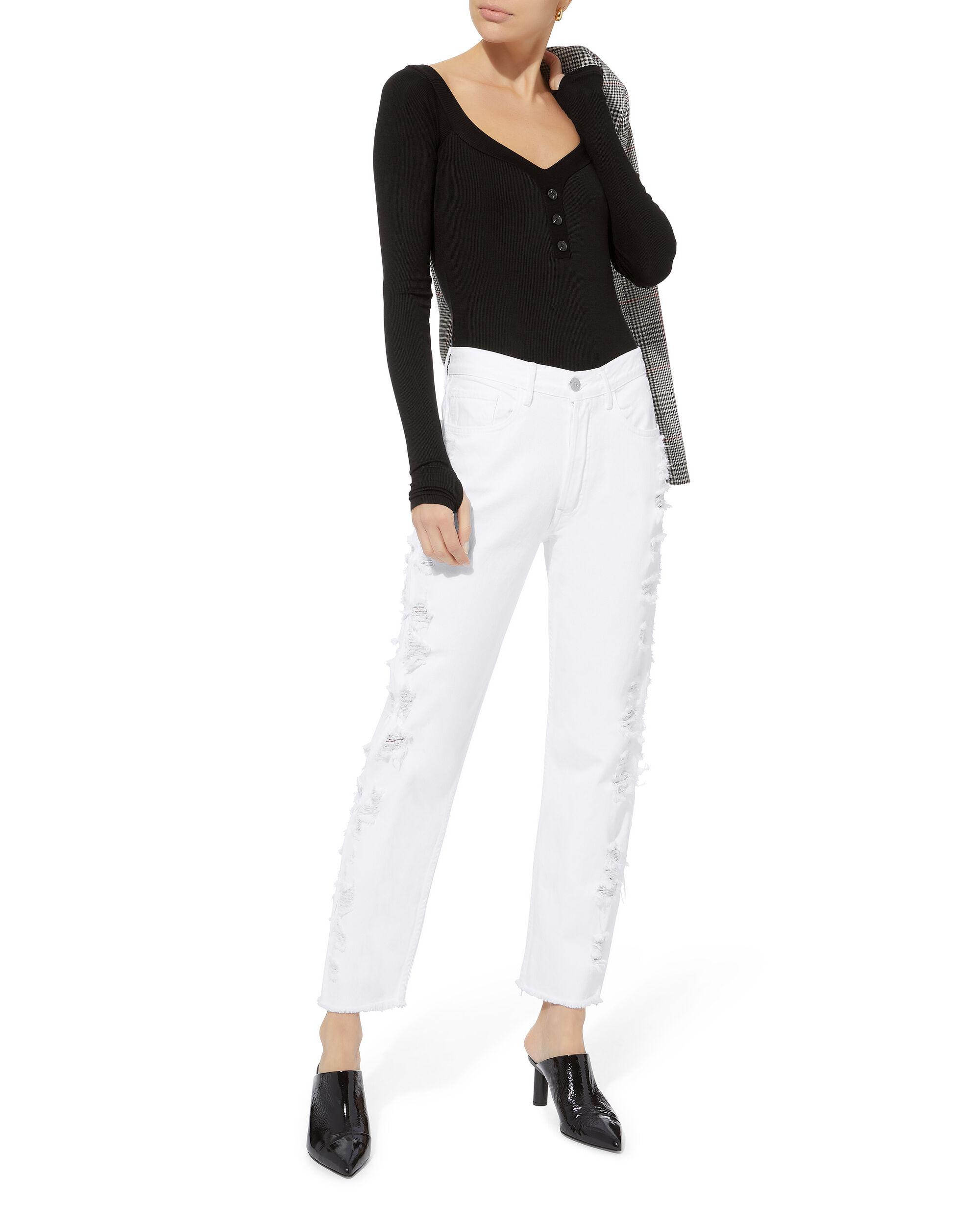 W3 Higher Ground  Cropped Jeans, WHITE, hi-res