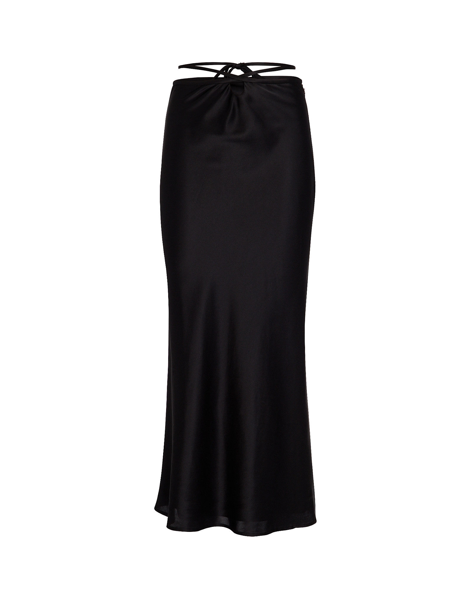 Silk Tie Waist Slip Skirt, BLACK, hi-res