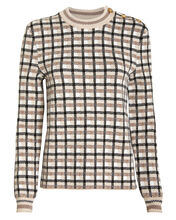 Wool Checked Crew Neck Sweater, IVORY/BROWN CHECK, hi-res