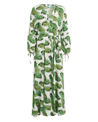 Margo Palm-Printed Crepe Kaftan, PALM PRINT, hi-res