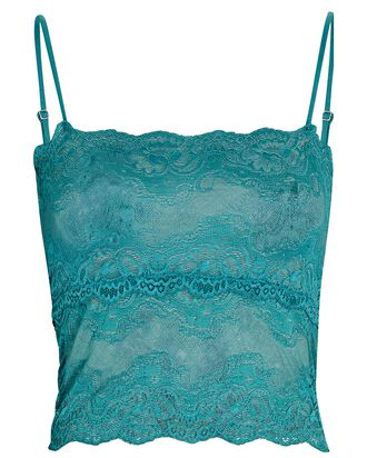 Square Neck Lace Camisole, GREEN, hi-res