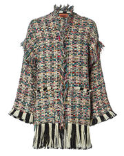 Novelty Knit Fringe Jacket, MULTI, hi-res