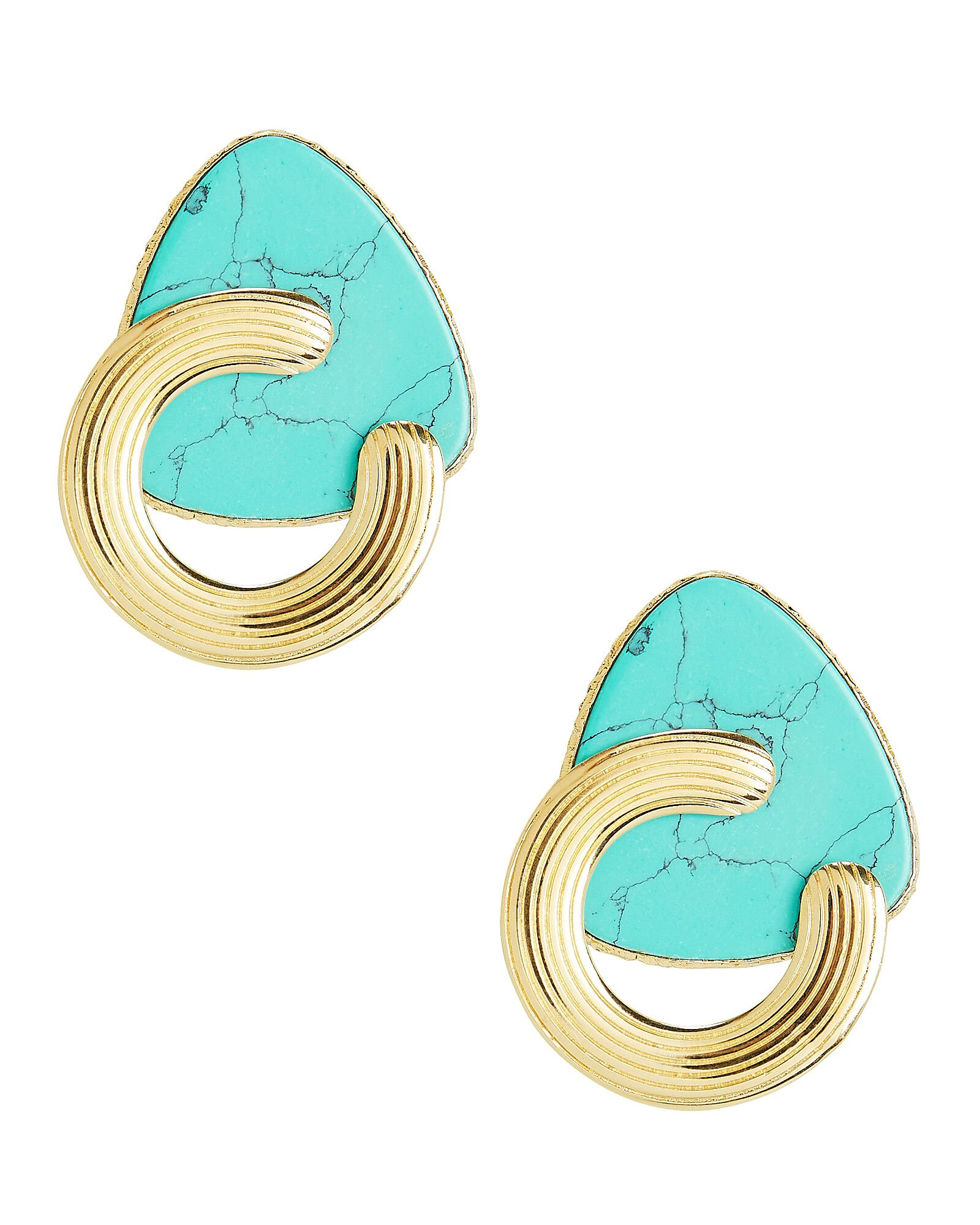 Bo Anemone Turquoise Earrings, GOLD/TURQUOISE, hi-res