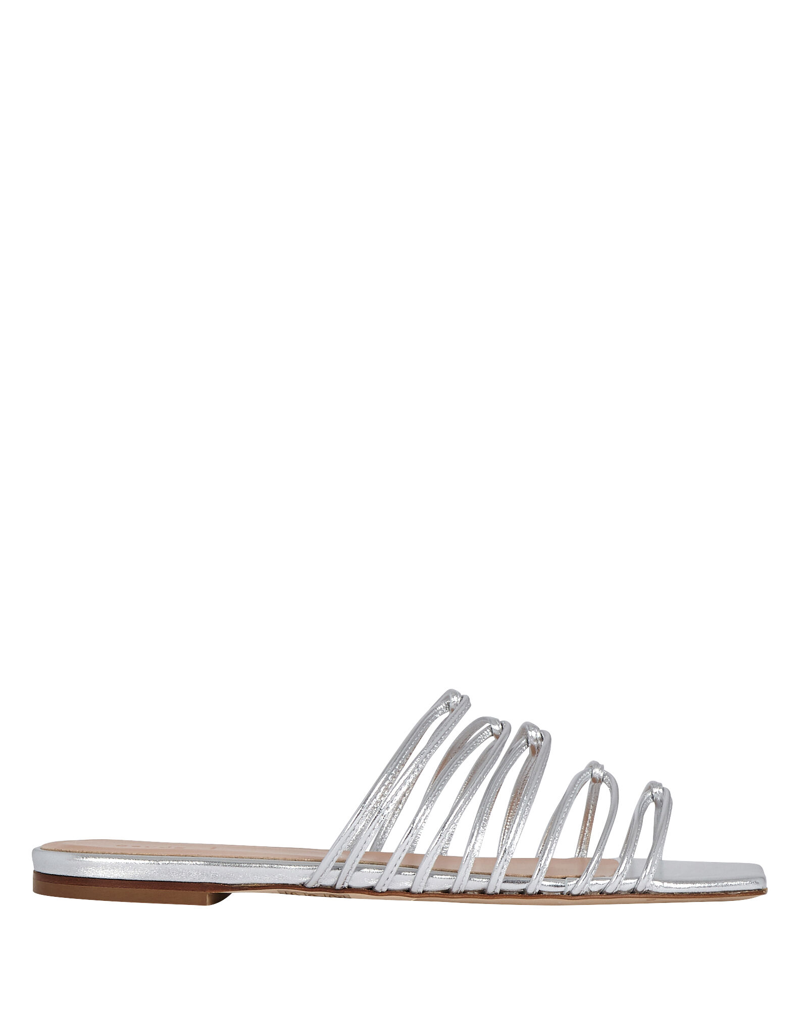 Natasha Strappy Slide Sandals, SILVER, hi-res