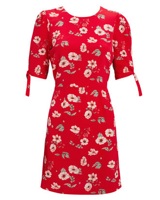 Cleo Printed Mini Dress, RED, hi-res