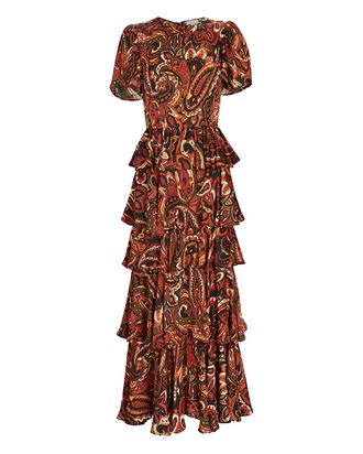 Serena Ruffled Paisley Midi Dress, BROWN/RED, hi-res