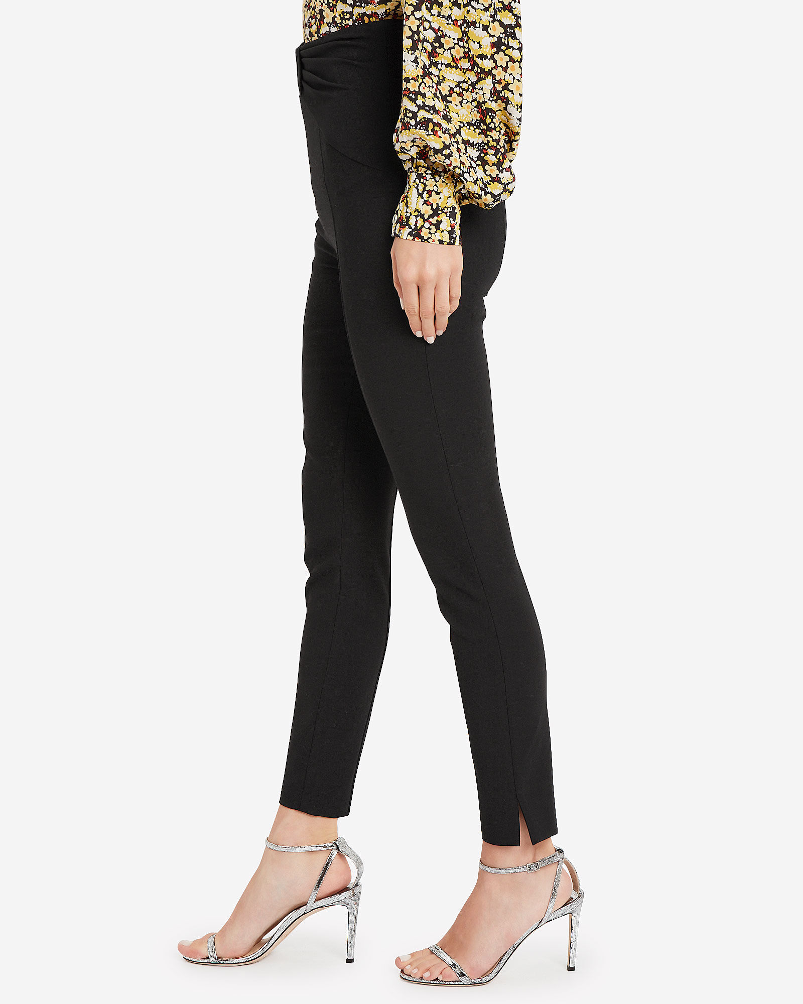 Ferdinand Bow-Accented Skinny Pants, BLACK, hi-res
