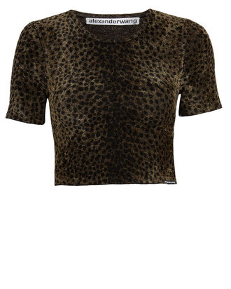 Leopard Chenille Cropped Top, BROWN/LEOPARD, hi-res