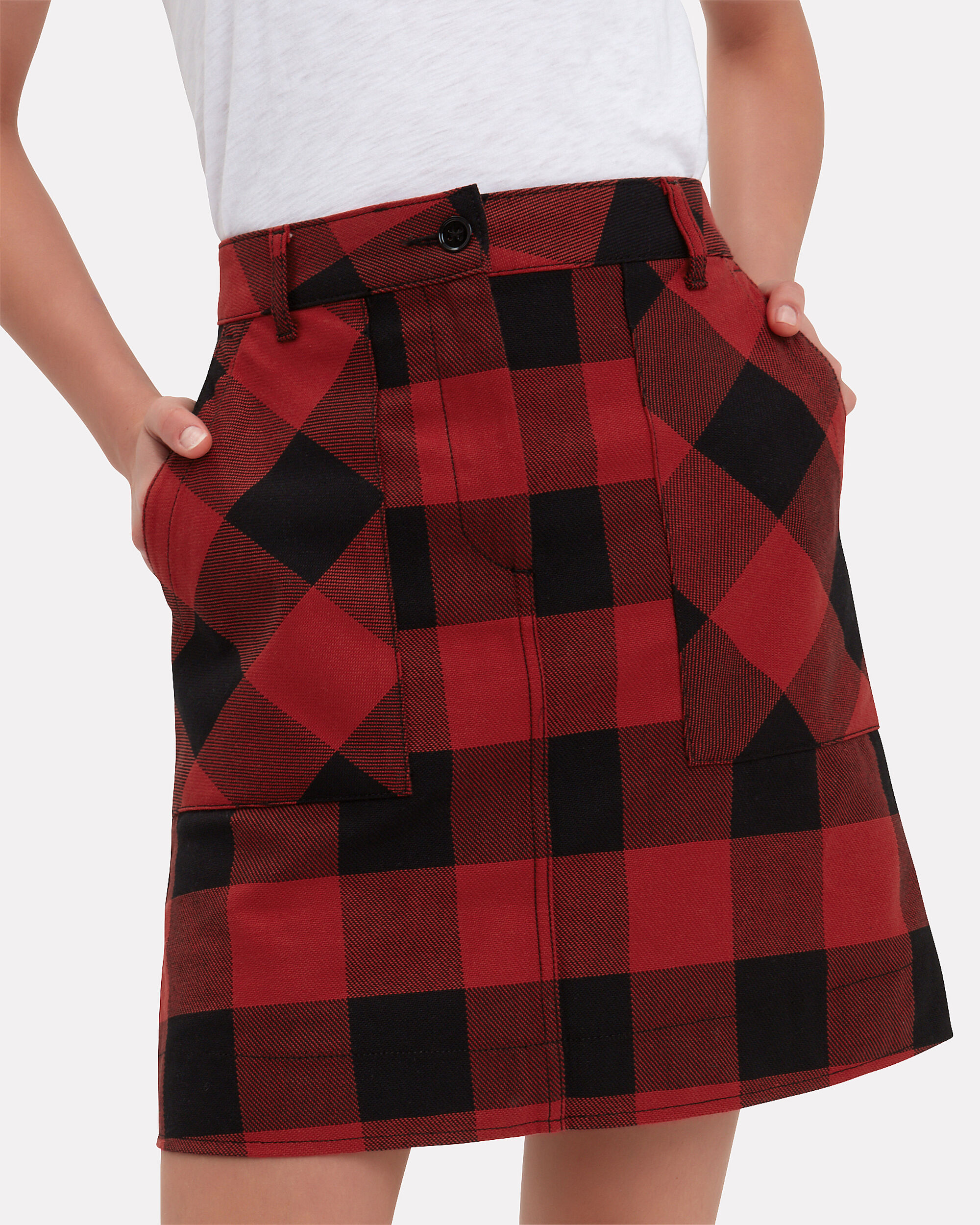 Buffalo Red Check Mini Skirt, RED/BLACK, hi-res