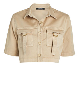 Cropped Military Button Down Shirt, KHAKI, hi-res