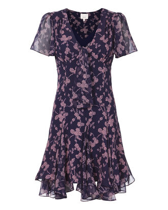 Annali Tie Front Mini Dress, PURPLE, hi-res