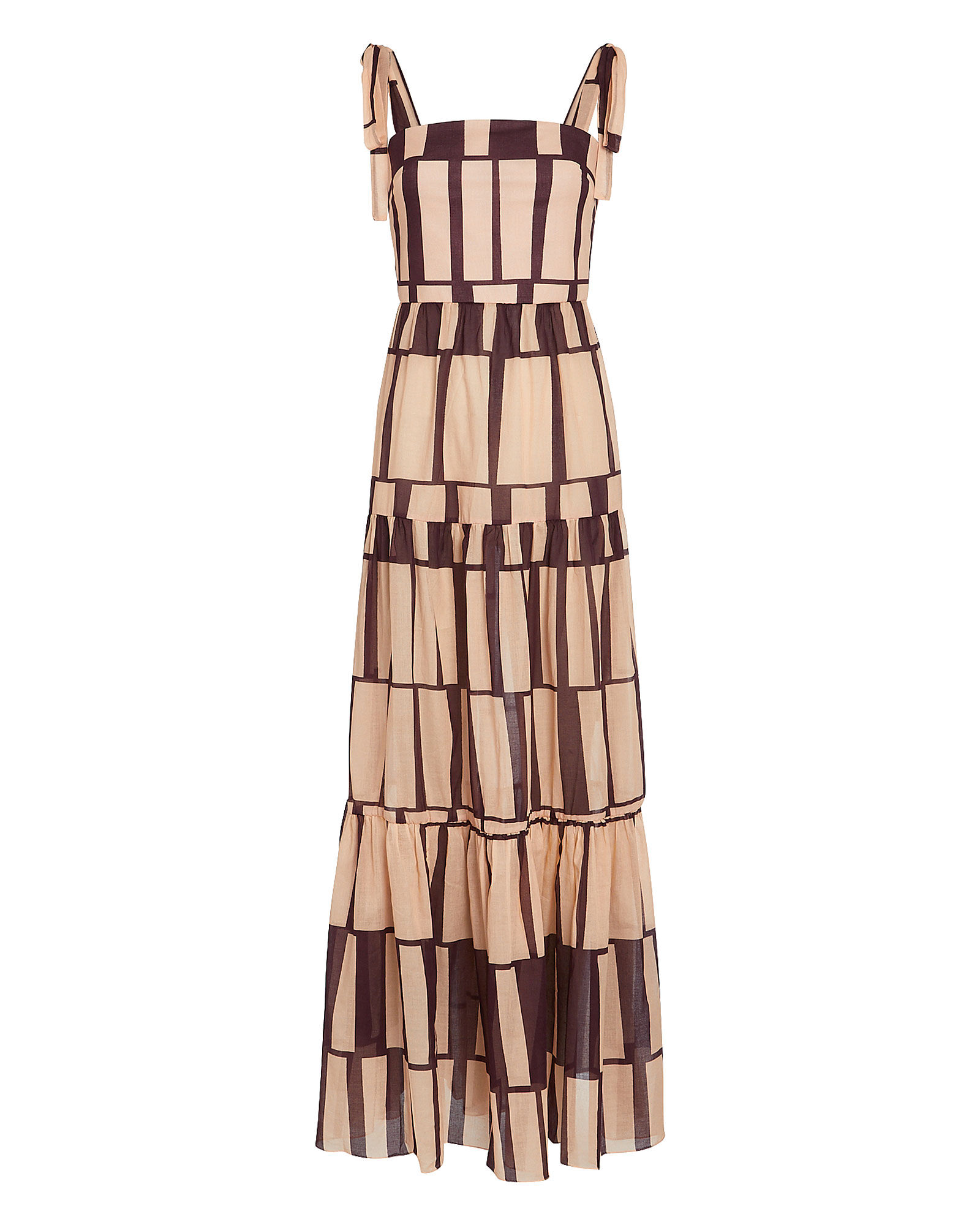 Waterfront Striped Cotton Voile Dress, BEIGE/COCOA, hi-res