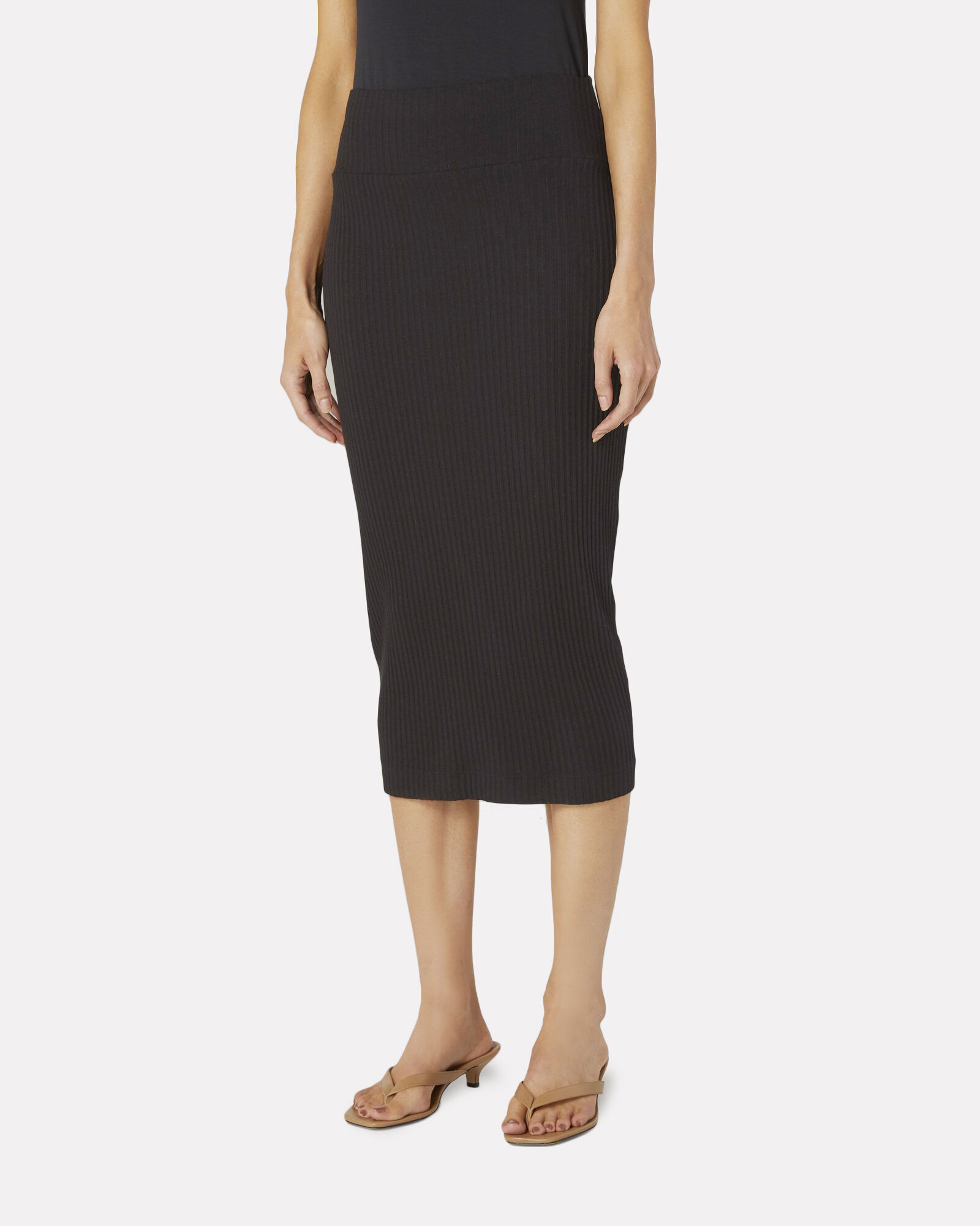 Rib Knit Cotton Pencil Skirt, BLACK, hi-res