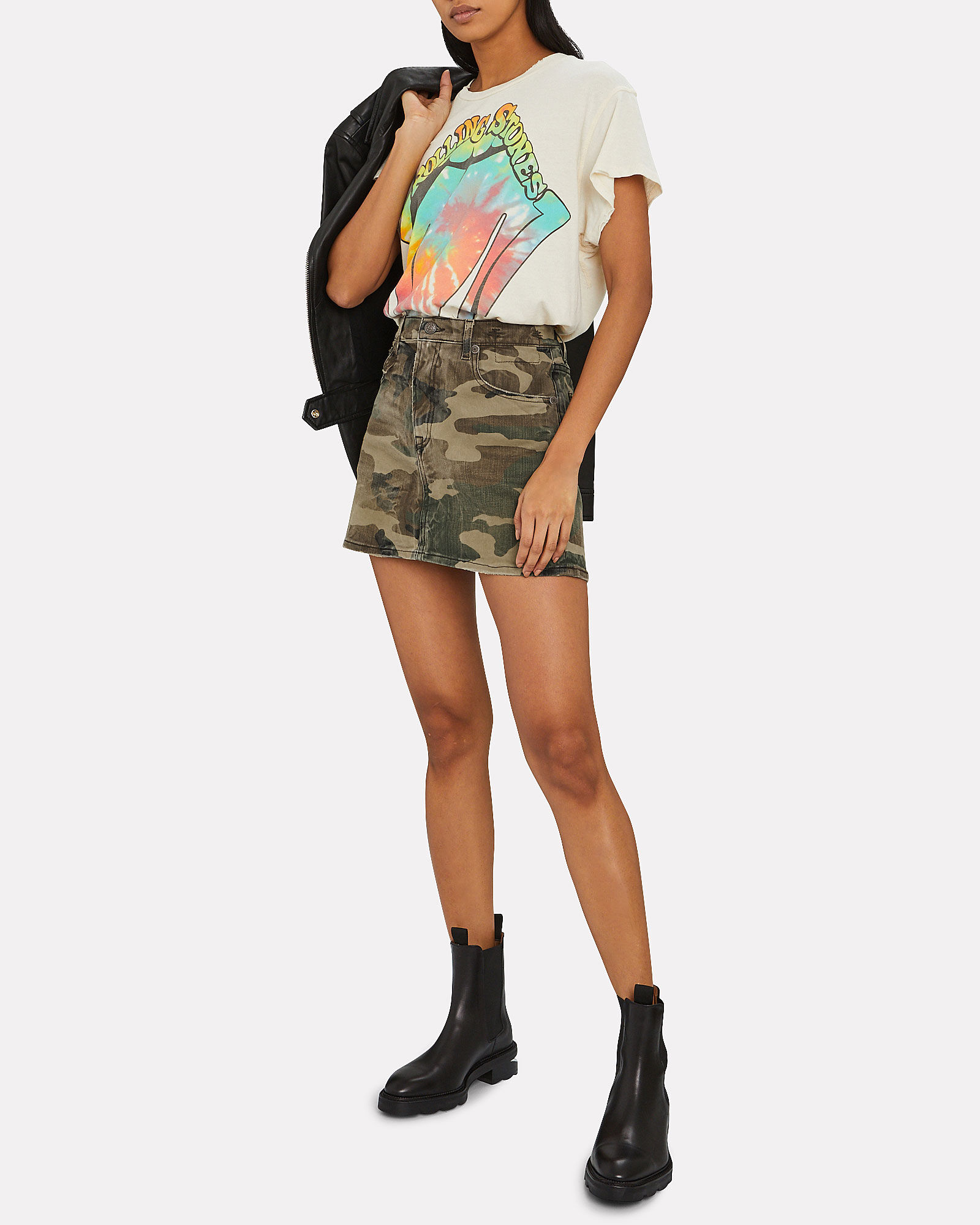 Camouflage Denim Mini Skirt, OLIVE CAMOUFLAGE, hi-res