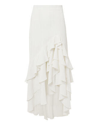 Ruffle Midi Skirt, WHITE, hi-res
