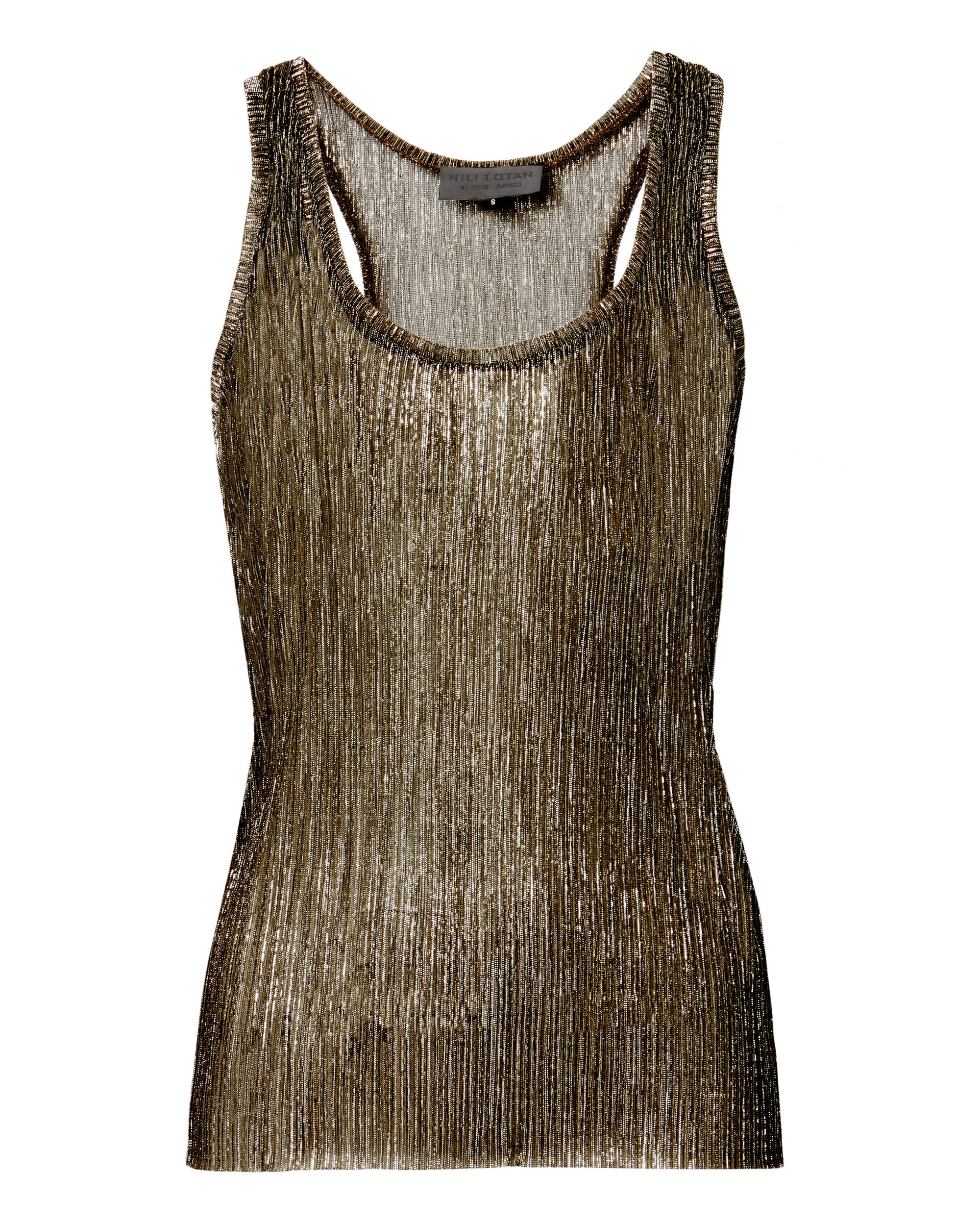 Valentina Gold Lurex Tank, GOLD, hi-res