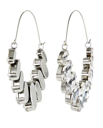 Crystal Embellished Hoop Earrings, SILVER, hi-res
