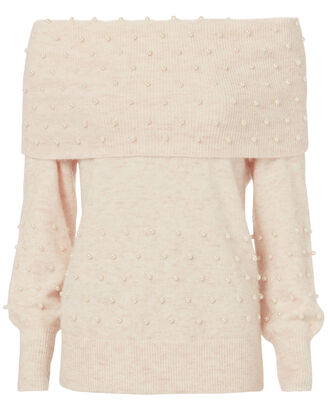 Off Shoulder Pearl Pullover, PINK, hi-res