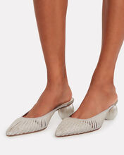 Alia Glitter Leather Mules, SILVER, hi-res
