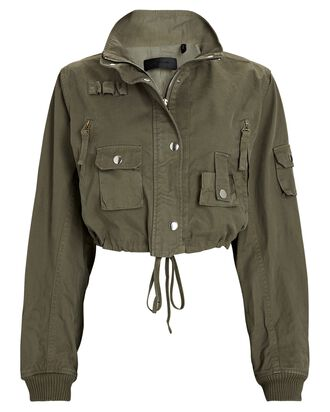 Cropped Cotton Bomber Jacket, OLIVE/ARMY, hi-res