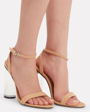 Valencia Clear Heel Sandals, BEIGE, hi-res