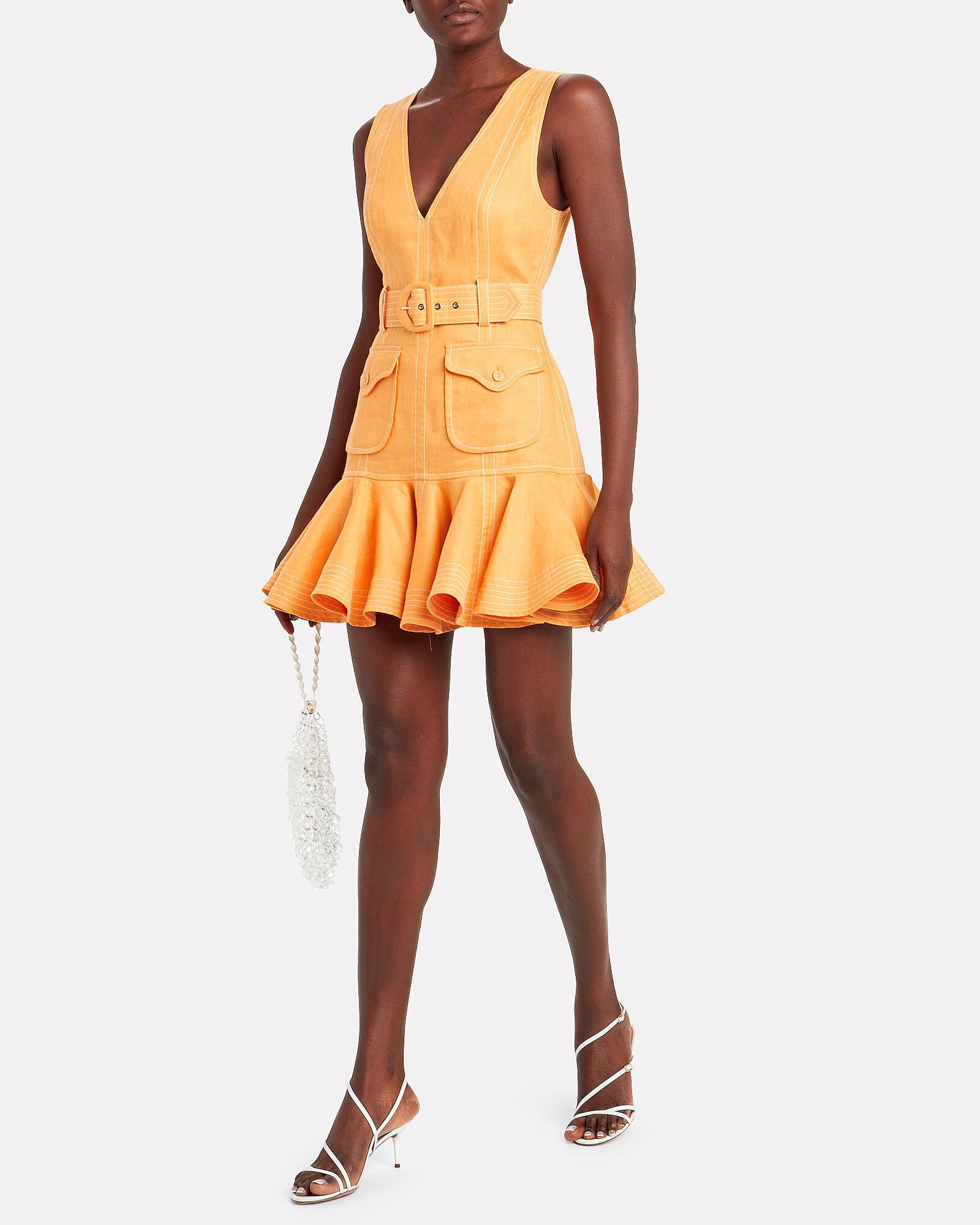 Super Eight Safari Linen Dress, ORANGE, hi-res