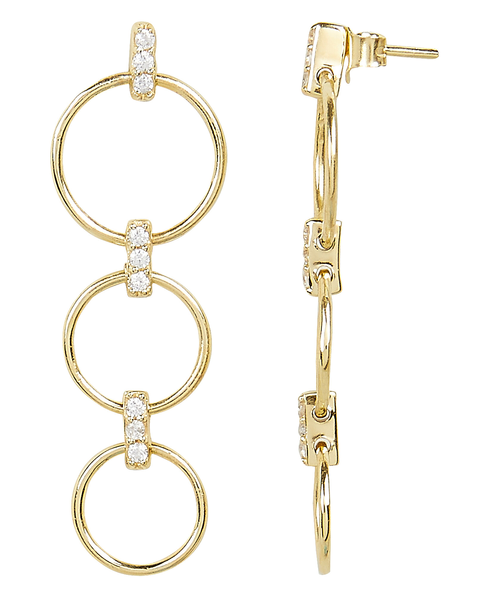 Circle Drop Down Earrings, GOLD, hi-res