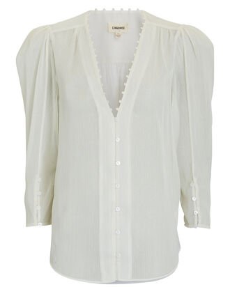 Kimberly Puff Sleeve Blouse, IVORY, hi-res