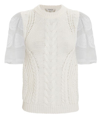 Zinnia Cable Knit Short Sleeve Sweater, WHITE, hi-res