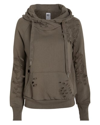 Lisse Distressed French Terry Hoodie, OLIVE, hi-res