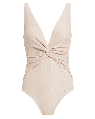 Metallic Twist Front One-Piece Swimsuit, BLUSH/METALLIC, hi-res