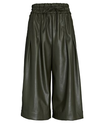 Vegan Leather Culottes, OLIVE/ARMY, hi-res
