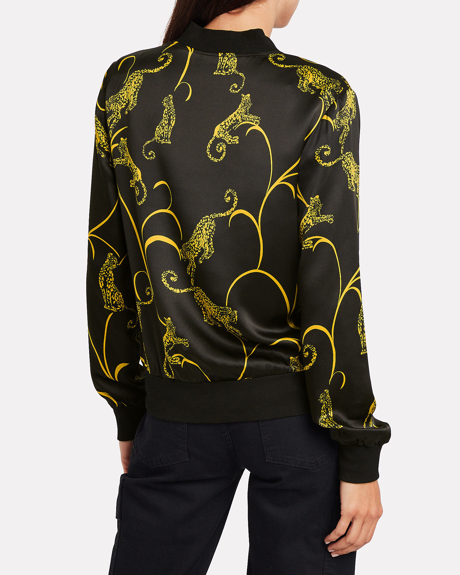 Ollie Silk Bomber Jacket, GOLD/TIGER, hi-res