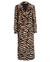 Zebra Double Breasted Great Coat, BROWN, hi-res