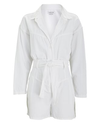 Astral Belted Denim Romper, WHITE, hi-res