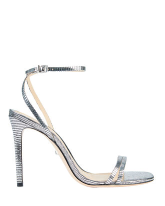 Altina Lizard-Embossed Metallic Sandals, SILVER, hi-res