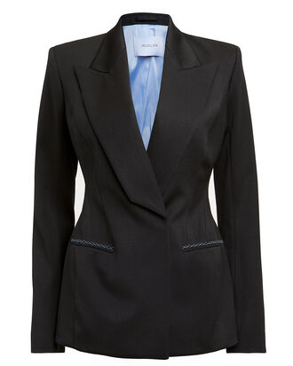 Exaggerated Lapel Blazer, BLACK/BLUE, hi-res