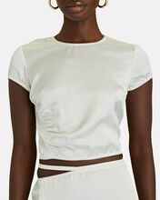 Satin Crop Top, WHITE, hi-res