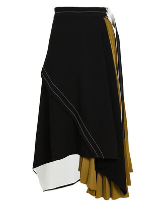 Layered Pleated Colorblock Skirt, MULTI, hi-res