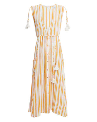 Claudia Striped V-Neck Midi Dress, ORANGE/WHITE, hi-res