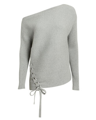 Off Shoulder Lace-Up Sweater, GREY, hi-res