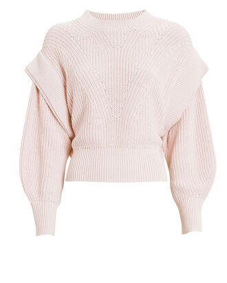 Kharla Strong Shoulder Crewneck Sweater, PINK, hi-res