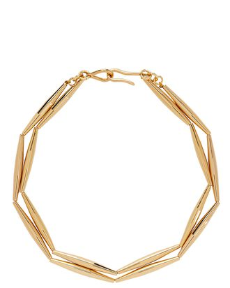 Helia Geometric Tube Necklace, GOLD, hi-res