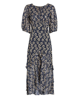 Cheryl Floral Silk Midi Dress, NAVY/BEIGE, hi-res