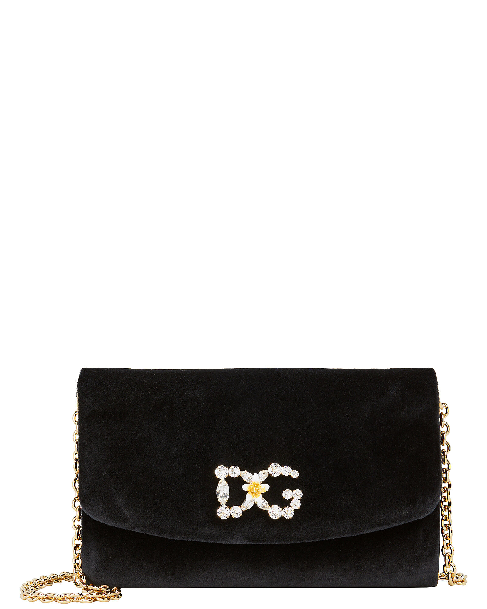 Velvet Logo Clutch, BLACK, hi-res