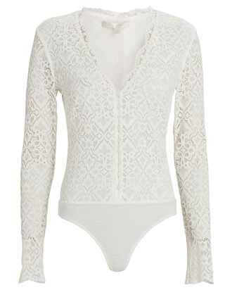 Lace Long Sleeve Bodysuit, WHITE, hi-res