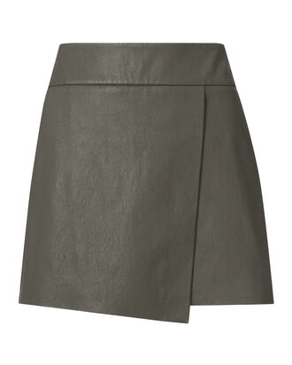 Jadyn Wrap Leather Mini Skirt, GREEN, hi-res