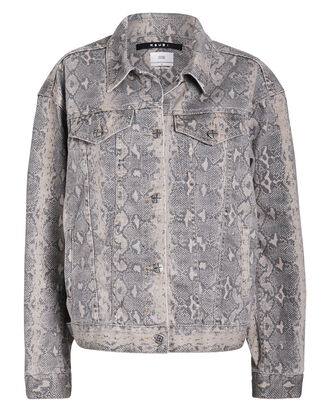 Kobra Oversized Denim Jacket, BEIGE/PYTHON, hi-res
